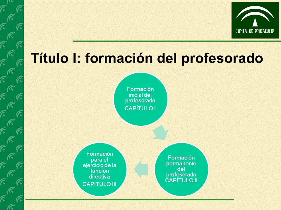 Título I: formación del profesorado Formación inicial del profesorado CAPÍTULO I Formación permanente del profesorado CAPÍTULO II Formación para el ej