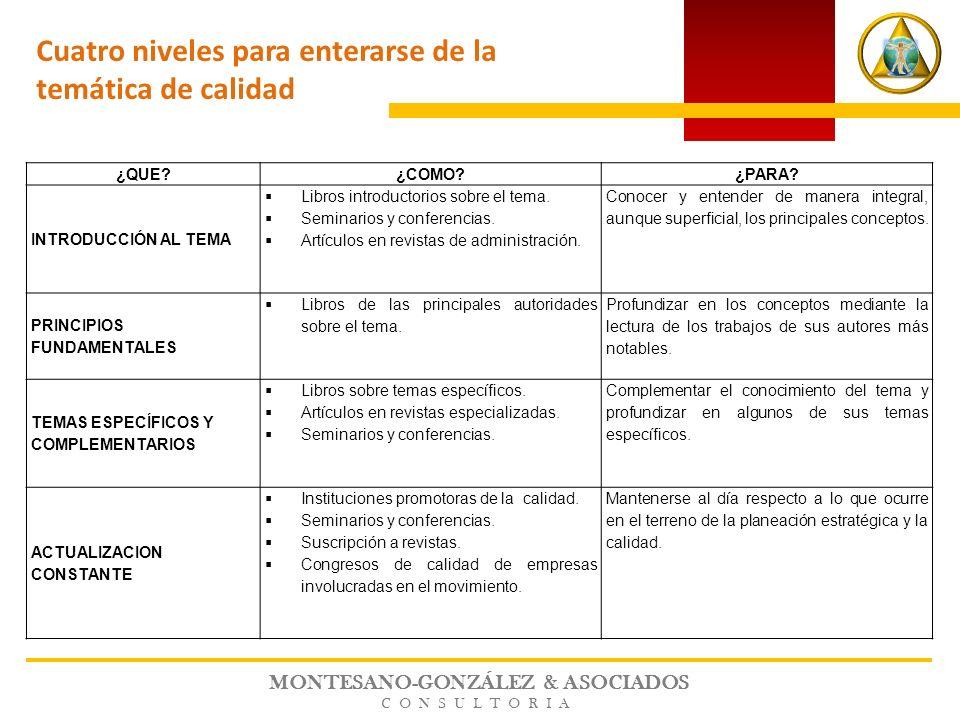 MONTESANO-GONZÁLEZ & ASOCIADOS CONSULTORIA ¿QUE?¿COMO?¿PARA? INTRODUCCIÓN AL TEMA Libros introductorios sobre el tema. Seminarios y conferencias. Artí