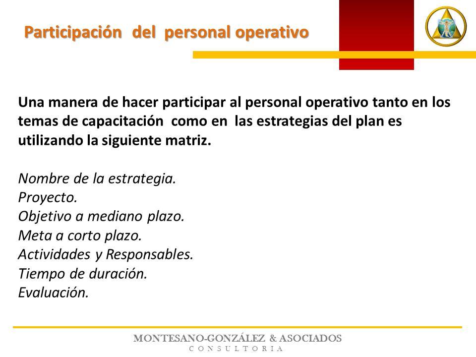 MONTESANO-GONZÁLEZ & ASOCIADOS CONSULTORIA Una manera de hacer participar al personal operativo tanto en los temas de capacitación como en las estrate