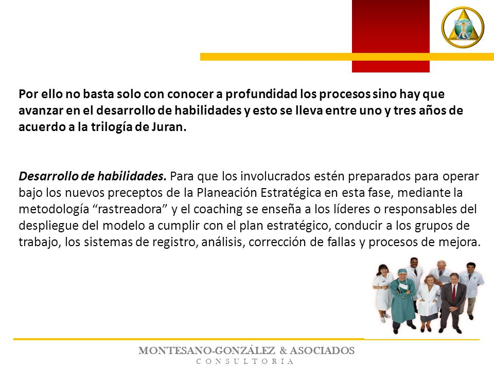 MONTESANO-GONZÁLEZ & ASOCIADOS CONSULTORIA Por ello no basta solo con conocer a profundidad los procesos sino hay que avanzar en el desarrollo de habi