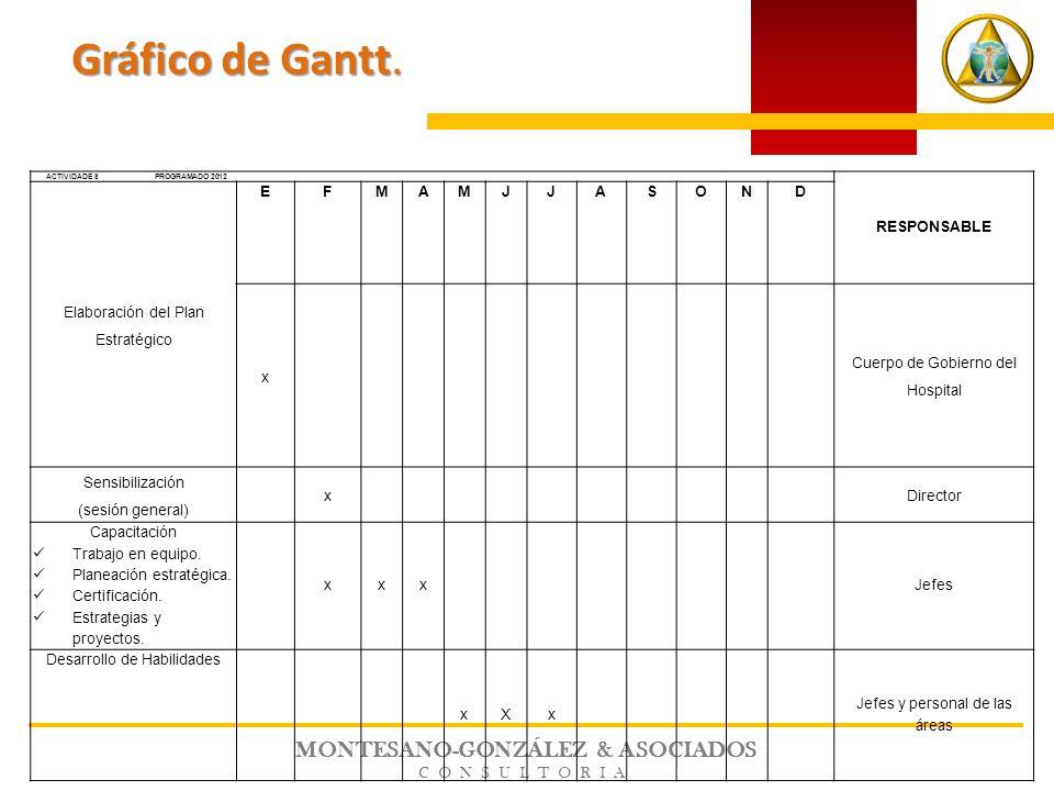 MONTESANO-GONZÁLEZ & ASOCIADOS CONSULTORIA ACTIVIDADES PROGRAMADO 2012 RESPONSABLE Elaboración del Plan Estratégico EFMAMJJASOND x Cuerpo de Gobierno