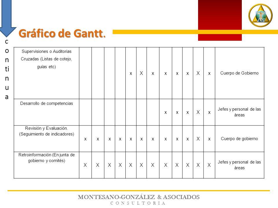 MONTESANO-GONZÁLEZ & ASOCIADOS CONSULTORIA Supervisiones o Auditorias Cruzadas (Listas de cotejo, guías etc) xXxxxxXx Cuerpo de Gobierno Desarrollo de
