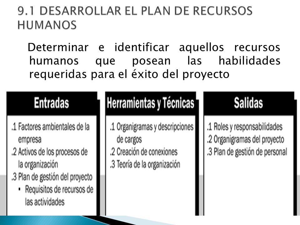 Determinar e identificar aquellos recursos humanos que posean las habilidades requeridas para el éxito del proyecto