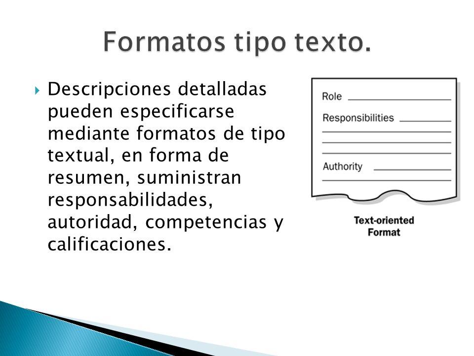 Descripciones detalladas pueden especificarse mediante formatos de tipo textual, en forma de resumen, suministran responsabilidades, autoridad, compet