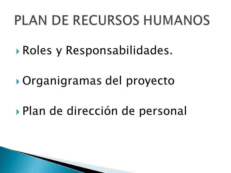 Roles y Responsabilidades. Organigramas del proyecto Plan de dirección de personal