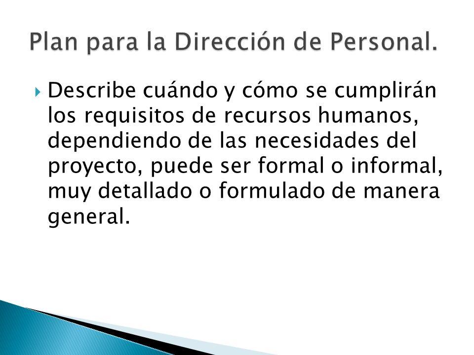 Describe cuándo y cómo se cumplirán los requisitos de recursos humanos, dependiendo de las necesidades del proyecto, puede ser formal o informal, muy