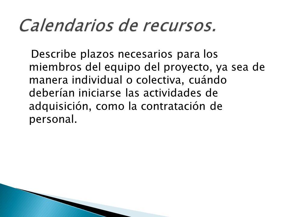 Describe plazos necesarios para los miembros del equipo del proyecto, ya sea de manera individual o colectiva, cuándo deberían iniciarse las actividad