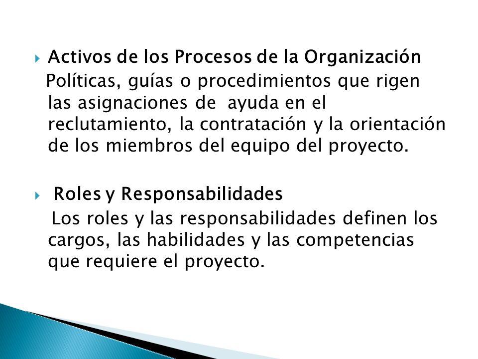 Activos de los Procesos de la Organización Políticas, guías o procedimientos que rigen las asignaciones de ayuda en el reclutamiento, la contratación
