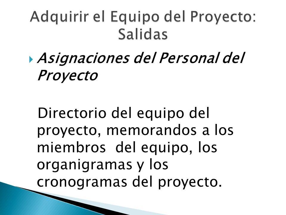 Asignaciones del Personal del Proyecto Directorio del equipo del proyecto, memorandos a los miembros del equipo, los organigramas y los cronogramas de