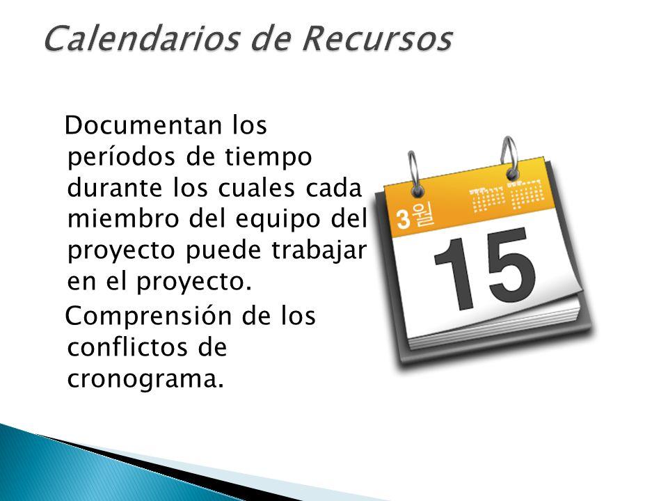 Documentan los períodos de tiempo durante los cuales cada miembro del equipo del proyecto puede trabajar en el proyecto. Comprensión de los conflictos
