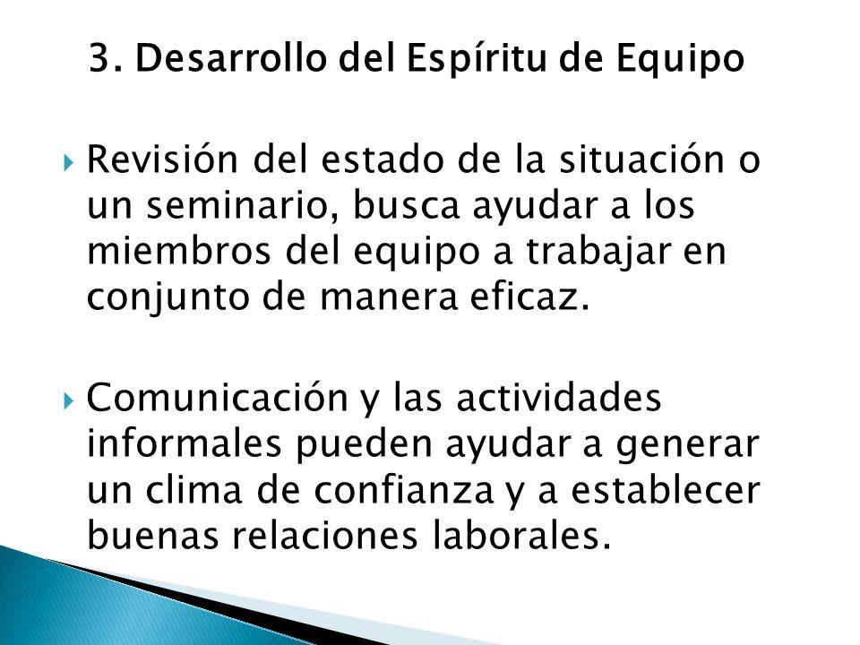 3. Desarrollo del Espíritu de Equipo Revisión del estado de la situación o un seminario, busca ayudar a los miembros del equipo a trabajar en conjunto