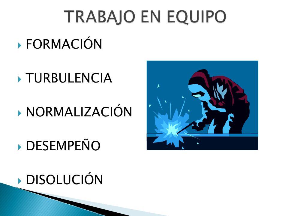 FORMACIÓN TURBULENCIA NORMALIZACIÓN DESEMPEÑO DISOLUCIÓN