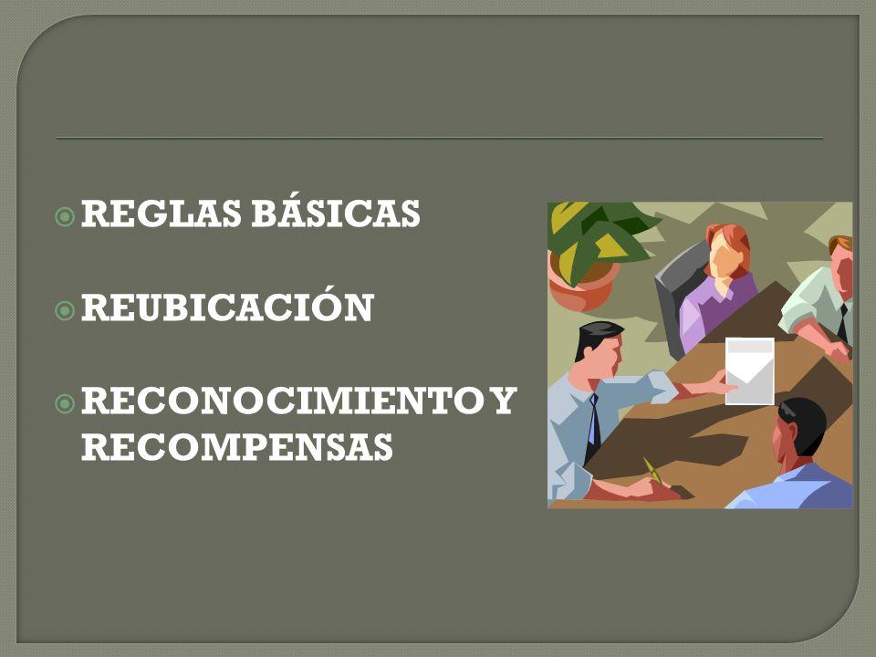 REGLAS BÁSICAS REUBICACIÓN RECONOCIMIENTO Y RECOMPENSAS
