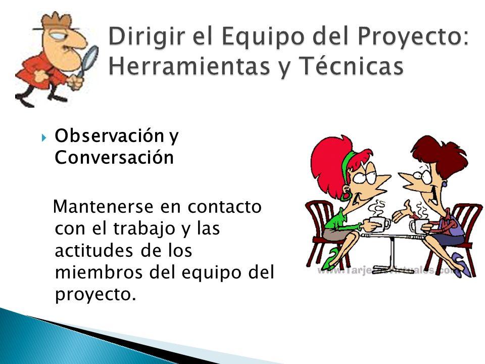 Observación y Conversación Mantenerse en contacto con el trabajo y las actitudes de los miembros del equipo del proyecto.