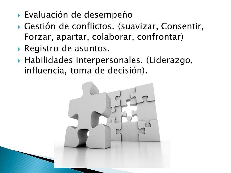 Evaluación de desempeño Gestión de conflictos. (suavizar, Consentir, Forzar, apartar, colaborar, confrontar) Registro de asuntos. Habilidades interper