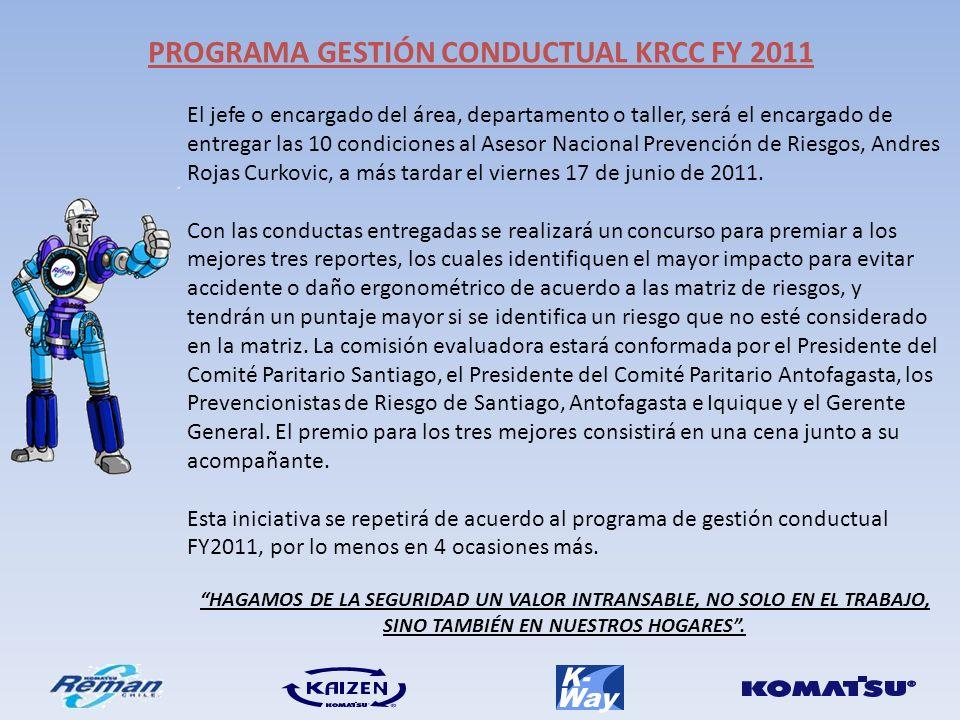 El jefe o encargado del área, departamento o taller, será el encargado de entregar las 10 condiciones al Asesor Nacional Prevención de Riesgos, Andres