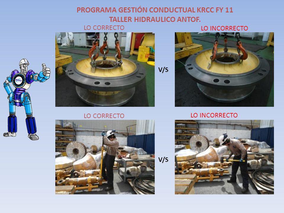 PROGRAMA GESTIÓN CONDUCTUAL KRCC FY 11 TALLER HIDRAULICO ANTOF. LO INCORRECTO V/S LO CORRECTO LO INCORRECTO
