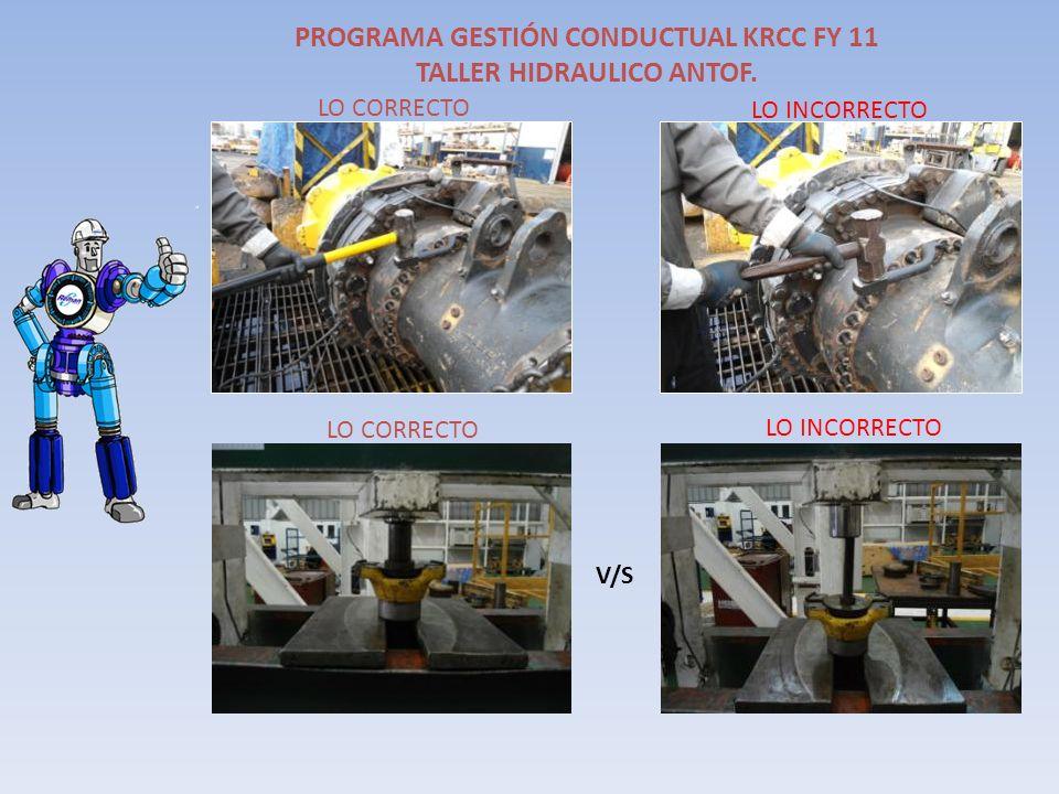 PROGRAMA GESTIÓN CONDUCTUAL KRCC FY 11 TALLER HIDRAULICO ANTOF. V/S LO CORRECTO LO INCORRECTO LO CORRECTO LO INCORRECTO