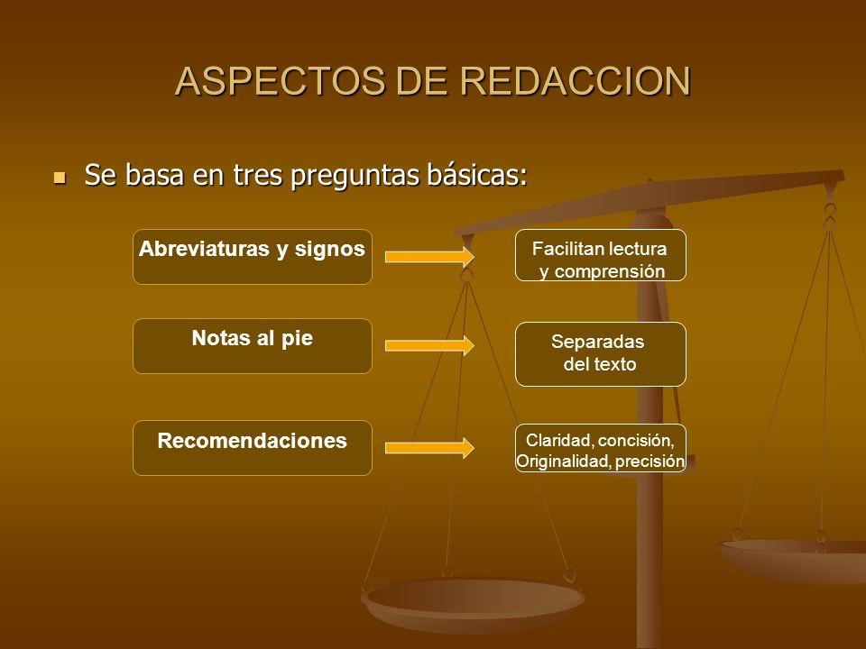 ASPECTOS DE REDACCION Se basa en tres preguntas básicas: Se basa en tres preguntas básicas: Abreviaturas y signos Notas al pie Recomendaciones Facilit