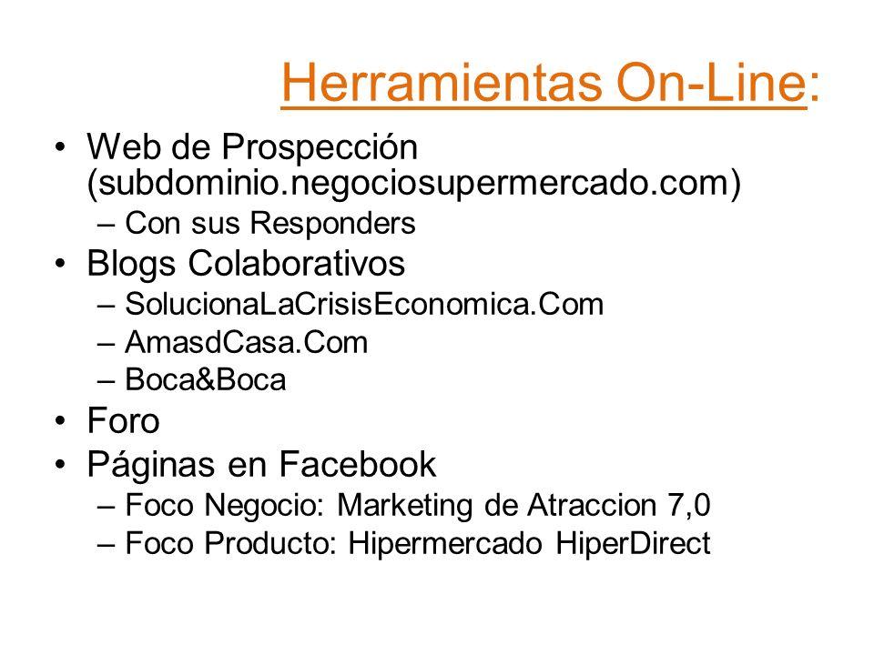 Herramientas On-Line: Web de Prospección (subdominio.negociosupermercado.com) –Con sus Responders Blogs Colaborativos –SolucionaLaCrisisEconomica.Com –AmasdCasa.Com –Boca&Boca Foro Páginas en Facebook –Foco Negocio: Marketing de Atraccion 7,0 –Foco Producto: Hipermercado HiperDirect