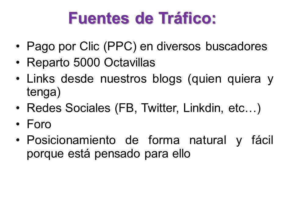 Fuentes de Tráfico: Pago por Clic (PPC) en diversos buscadores Reparto 5000 Octavillas Links desde nuestros blogs (quien quiera y tenga) Redes Sociales (FB, Twitter, Linkdin, etc…) Foro Posicionamiento de forma natural y fácil porque está pensado para ello