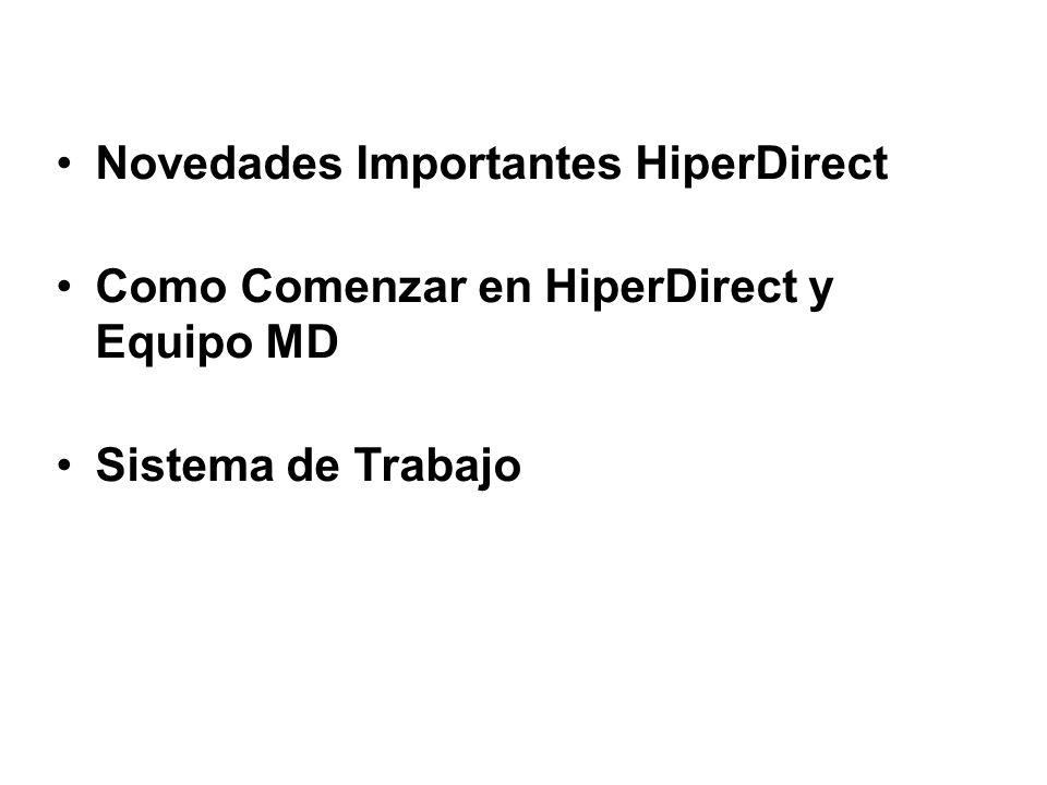 Novedades Importantes HiperDirect Como Comenzar en HiperDirect y Equipo MD Sistema de Trabajo