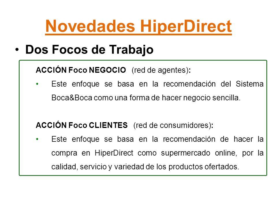 Novedades HiperDirect Dos Focos de Trabajo ACCIÓN Foco NEGOCIO (red de agentes): Este enfoque se basa en la recomendación del Sistema Boca&Boca como una forma de hacer negocio sencilla.
