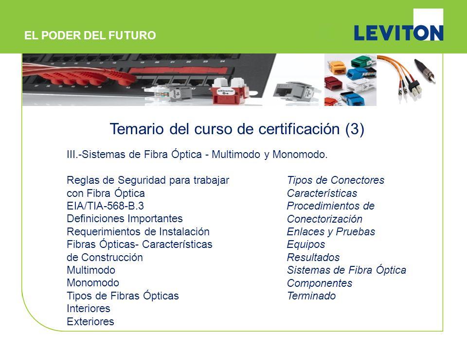 IV.- Prácticas de Instalación Cobre Fibra Óptica V.- Examen * Incluye carpeta de trabajo, kit de trabajo para la sesión práctica y souvenirs.