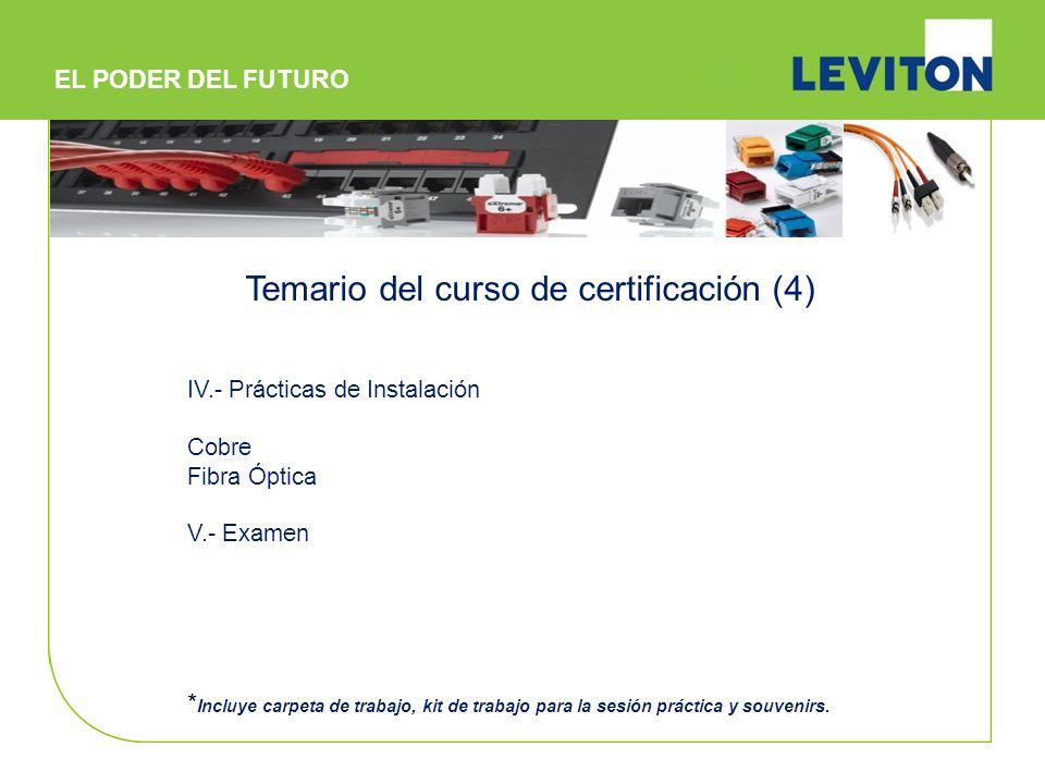 IV.- Prácticas de Instalación Cobre Fibra Óptica V.- Examen * Incluye carpeta de trabajo, kit de trabajo para la sesión práctica y souvenirs. Temario