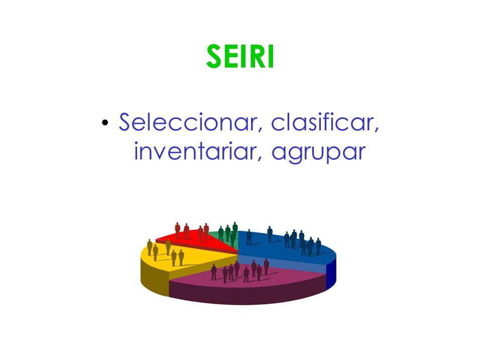 SEIRI Seleccionar, clasificar, inventariar, agrupar