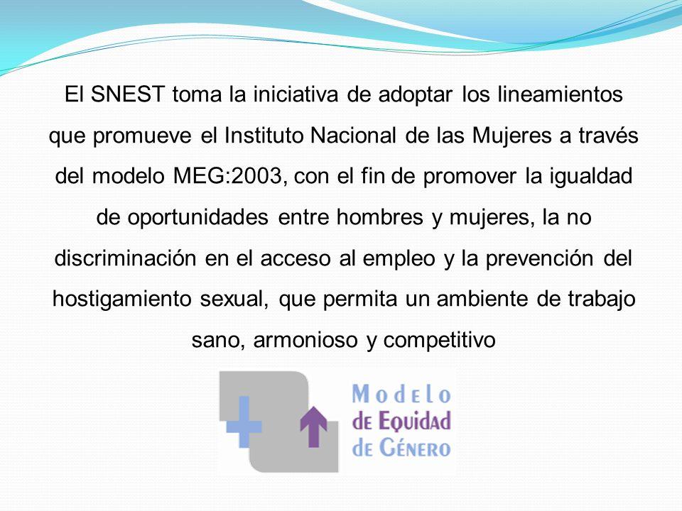 El SNEST toma la iniciativa de adoptar los lineamientos que promueve el Instituto Nacional de las Mujeres a través del modelo MEG:2003, con el fin de