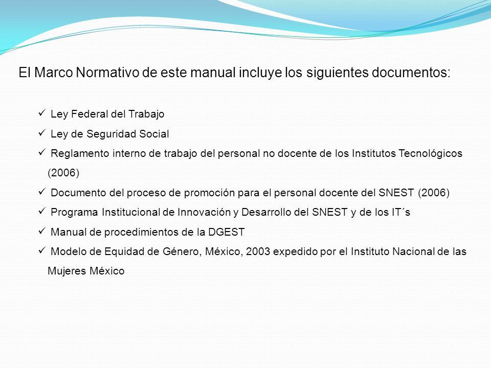 El Marco Normativo de este manual incluye los siguientes documentos: Ley Federal del Trabajo Ley de Seguridad Social Reglamento interno de trabajo del