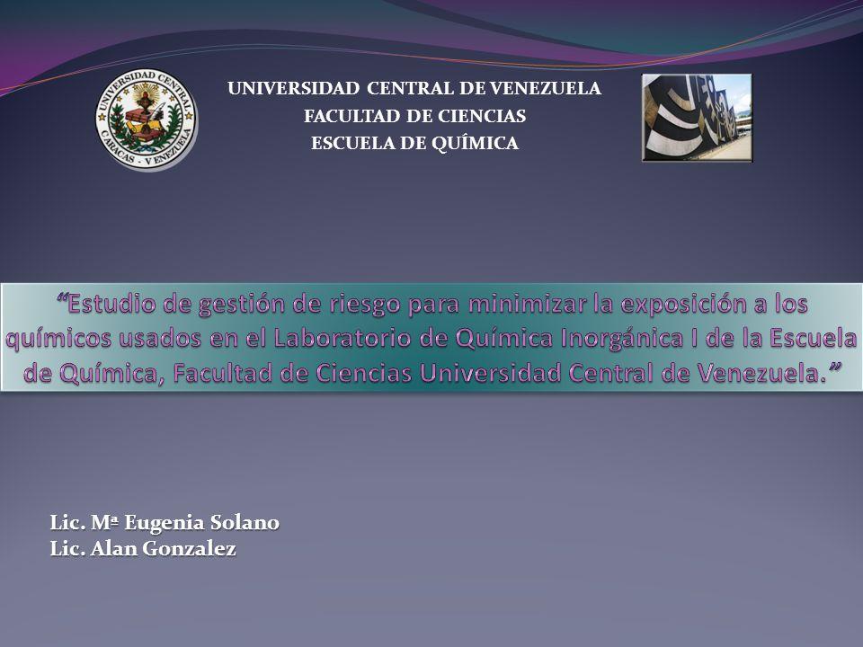 UNIVERSIDAD CENTRAL DE VENEZUELA FACULTAD DE CIENCIAS ESCUELA DE QUÍMICA Lic. Mª Eugenia Solano Lic. Alan Gonzalez