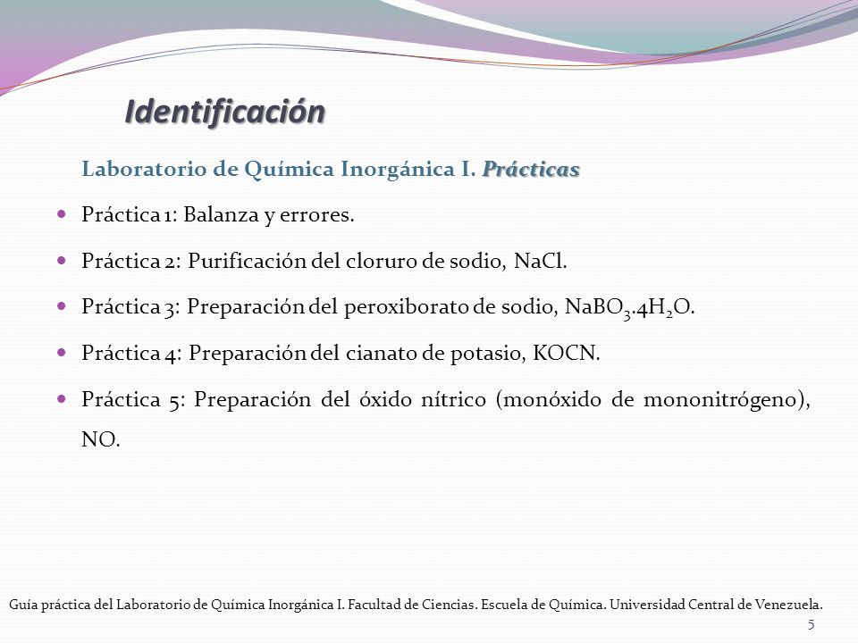Prácticas Laboratorio de Química Inorgánica I.