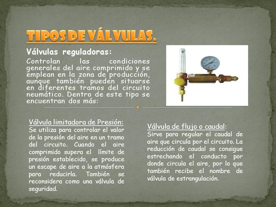 Válvulas reguladoras: Controlan las condiciones generales del aire comprimido y se emplean en la zona de producción, aunque también pueden situarse en