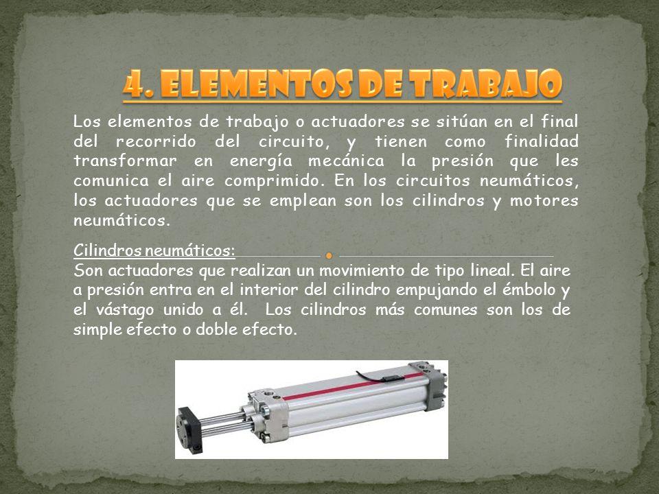 Los elementos de trabajo o actuadores se sitúan en el final del recorrido del circuito, y tienen como finalidad transformar en energía mecánica la presión que les comunica el aire comprimido.