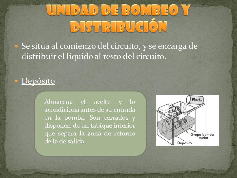 Se sitúa al comienzo del circuito, y se encarga de distribuir el líquido al resto del circuito. Depósito Almacena el aceite y lo acondiciona antes de