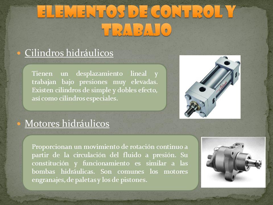 Cilindros hidráulicos Motores hidráulicos Tienen un desplazamiento lineal y trabajan bajo presiones muy elevadas. Existen cilindros de simple y dobles
