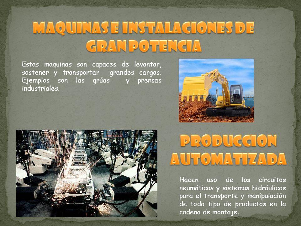 Estas maquinas son capaces de levantar, sostener y transportar grandes cargas. Ejemplos son las grúas y prensas industriales. Hacen uso de los circuit
