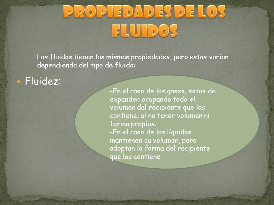 Fluidez: Los fluidos tienen las mismas propiedades, pero estas varían dependiendo del tipo de fluido: -En el caso de los gases, estos de expanden ocupando todo el volumen del recipiente que los contiene, al no tener volumen ni forma propios.