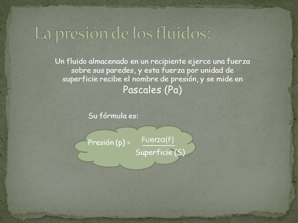 Un fluido almacenado en un recipiente ejerce una fuerza sobre sus paredes, y esta fuerza por unidad de superficie recibe el nombre de presión, y se mide en Pascales (Pa) Su fórmula es: Presión (p) = Fuerza(F) _______ _ Superficie (S)