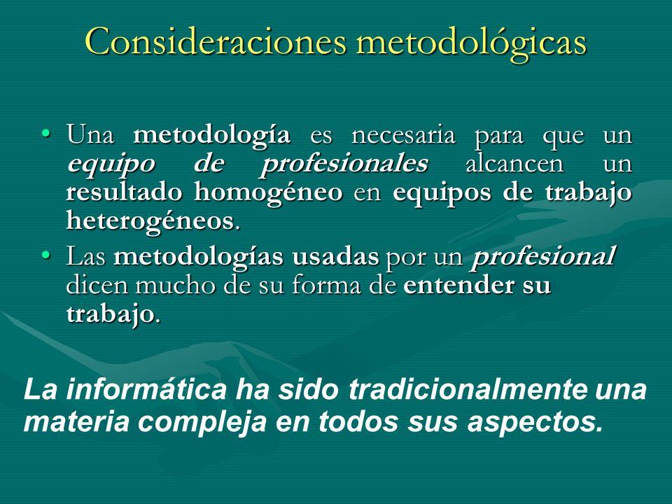 Consideraciones metodológicas Una metodología es necesaria para que un equipo de profesionales alcancen un resultado homogéneo en equipos de trabajo h