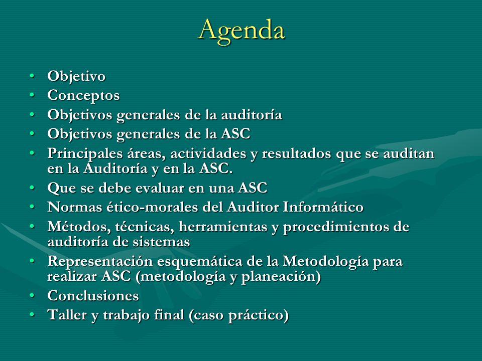 Agenda ObjetivoObjetivo ConceptosConceptos Objetivos generales de la auditoríaObjetivos generales de la auditoría Objetivos generales de la ASCObjetiv
