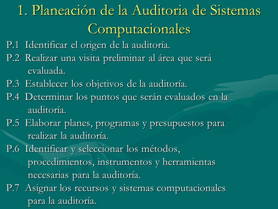 1. Planeación de la Auditoria de Sistemas Computacionales P.1 Identificar el origen de la auditoría. P.2 Realizar una visita preliminar al área que se