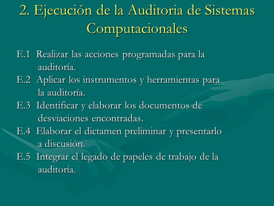 2. Ejecución de la Auditoria de Sistemas Computacionales E.1 Realizar las acciones programadas para la auditoría. auditoría. E.2 Aplicar los instrumen