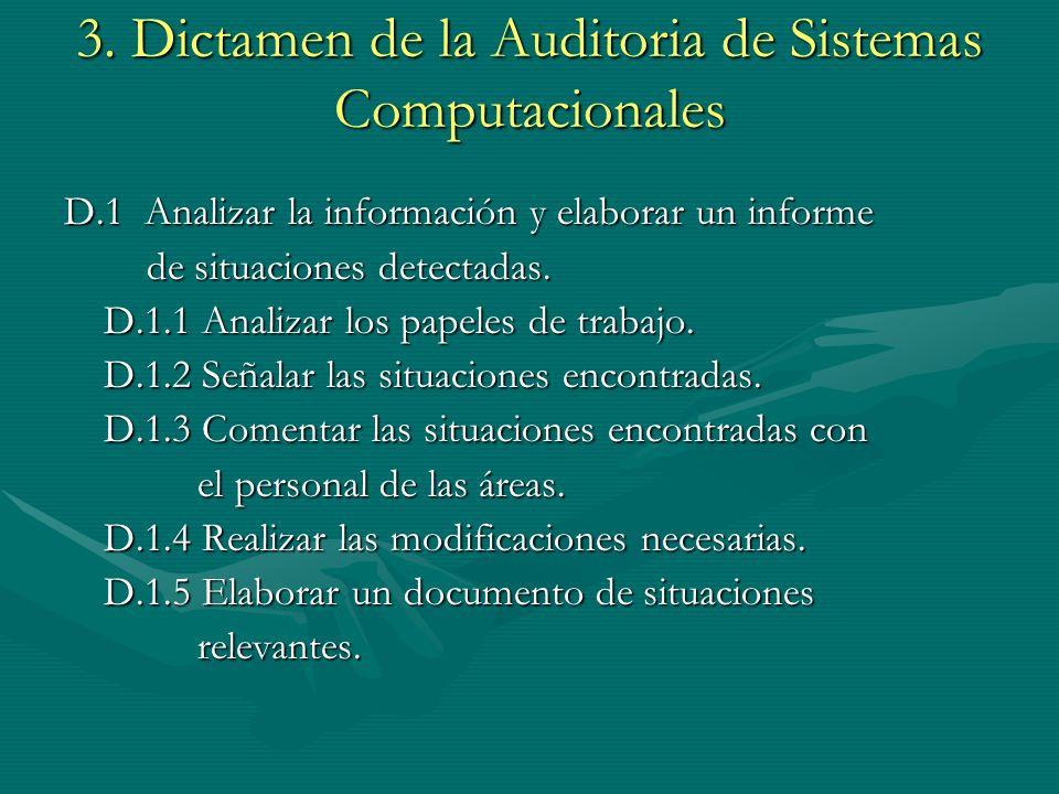 3. Dictamen de la Auditoria de Sistemas Computacionales D.1 Analizar la información y elaborar un informe de situaciones detectadas. de situaciones de