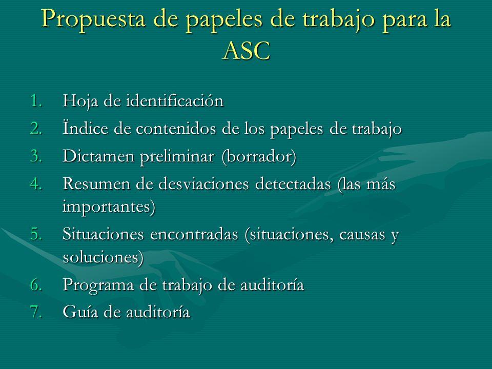 Propuesta de papeles de trabajo para la ASC 1.Hoja de identificación 2.Ïndice de contenidos de los papeles de trabajo 3.Dictamen preliminar (borrador)