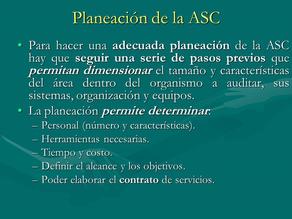 Planeación de la ASC Para hacer una adecuada planeación de la ASC hay que seguir una serie de pasos previos que permitan dimensionar el tamaño y carac