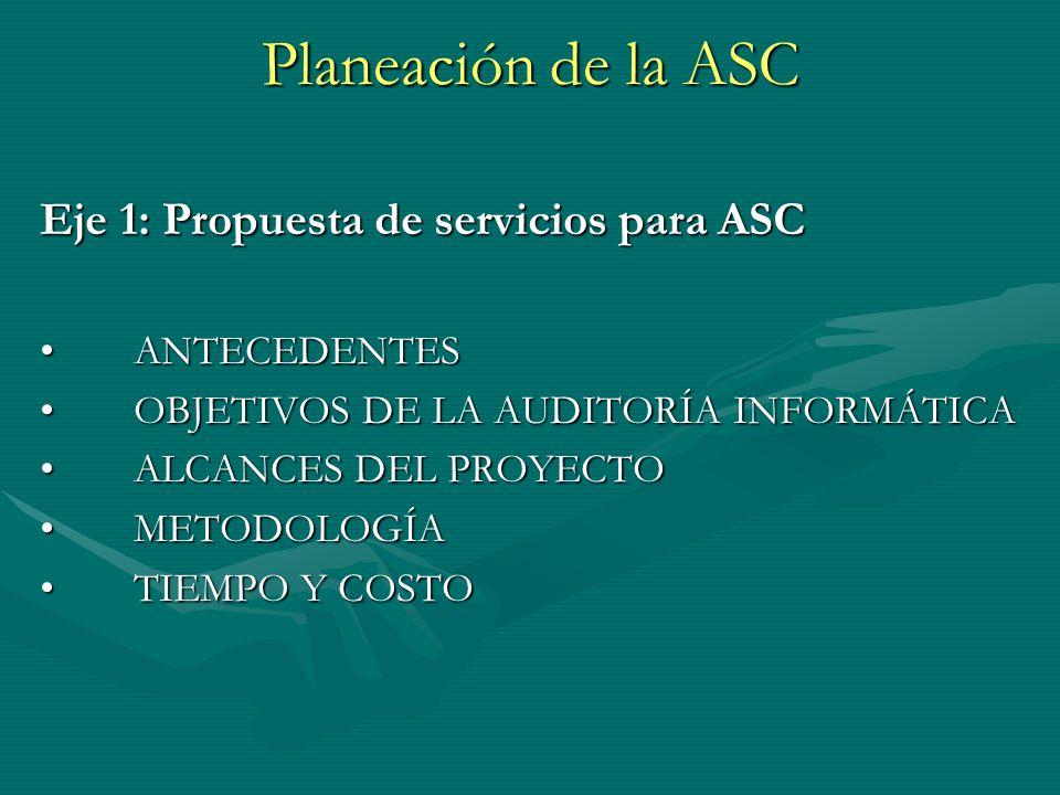 Planeación de la ASC Eje 1: Propuesta de servicios para ASC ANTECEDENTESANTECEDENTES OBJETIVOS DE LA AUDITORÍA INFORMÁTICAOBJETIVOS DE LA AUDITORÍA IN