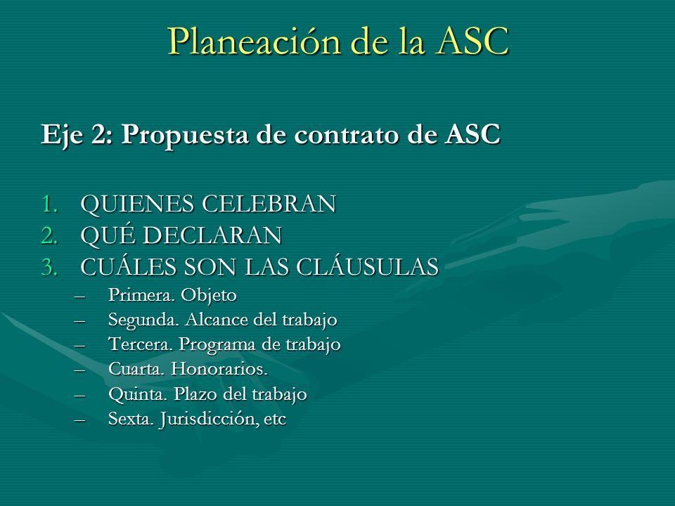 Planeación de la ASC Eje 2: Propuesta de contrato de ASC 1.QUIENES CELEBRAN 2.QUÉ DECLARAN 3.CUÁLES SON LAS CLÁUSULAS –Primera. Objeto –Segunda. Alcan